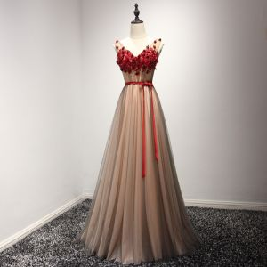 Chic / Beautiful Formal Dresses 2017 Evening Dresses  Brown A-Line / Princess Floor-Length / Long V-Neck Sleeveless Backless Sash Lace Appliques Beading