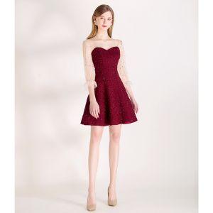 Sexy Borgoña Estrella Lentejuelas Vestidos de fiesta 2020 A-Line / Princess Escote Cuadrado Mangas de campana Sin Espalda Cortos Vestidos Formales