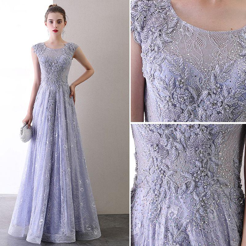 High-end Lavender Evening Dresses  2020 A-Line / Princess Scoop Neck Beading Pearl Rhinestone Lace Flower Sleeveless Backless Floor-Length / Long Formal Dresses
