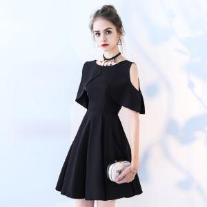 Hermoso Negro Vestidos de fiesta 2017 A-Line / Princess Scoop Escote Sin Tirantes Sin Mangas Cortos Vestidos Formales
