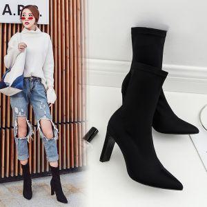 High-end Enkel Svart Gateklær Kvinners støvler 2020 Lær Suede 8 cm Stiletthæler Spisse Boots