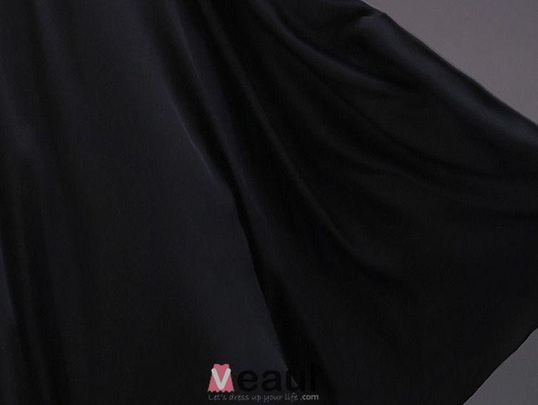 Une Ligne Une Épaule Dentelle Perles Robe De Soirée En Satin Noir