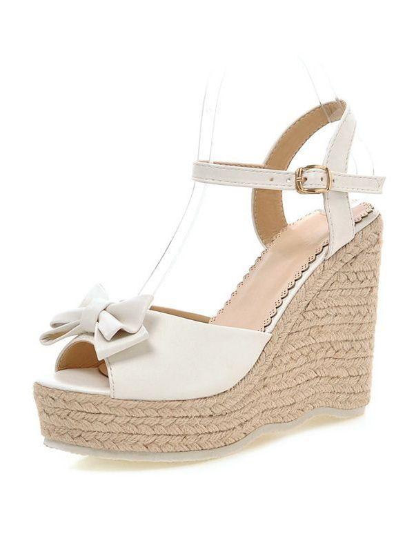 Alto Blancas 11 Cuña Cm Sandalias Zapatos Tacón De Hermosa 4q3LAjR5
