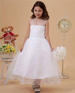 Lovely Yarn Ankle-Length Beading Flower Girl Dresses