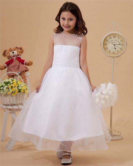 Lovely Yarn Ankle-Length Beading Flower Girl Dresses