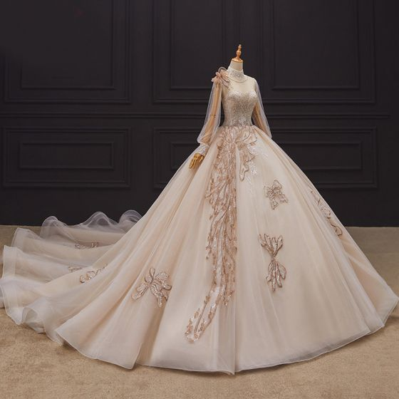 Luxury / Gorgeous Champagne Bridal Wedding Dresses 2020 Ball Gown See-through High Neck Puffy Long Sleeve Handmade  Beading Pearl Cathedral Train