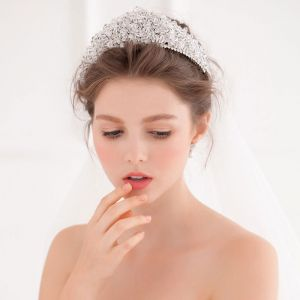 Luksus Krystall Flash Diamant Med Stor Krone Tiara / Bryllup Tiara
