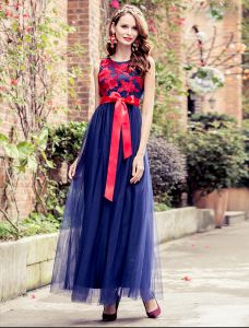 Charming Prom Dresses 2016 Empire Applique Red Lace Royal Blue Tulle Long Dress With Red Bow Sash