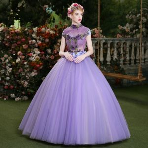 Affordable Lilac Prom Dresses 2019 Ball Gown High Neck Crystal Lace Flower Short Sleeve Backless Floor-Length / Long Formal Dresses