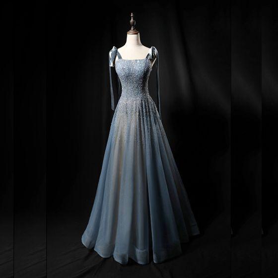 High-end Ocean Blue Dancing Prom Dresses 2021 A-Line / Princess Spaghetti Straps Sleeveless Sequins Beading Floor-Length / Long Ruffle Backless Formal Dresses