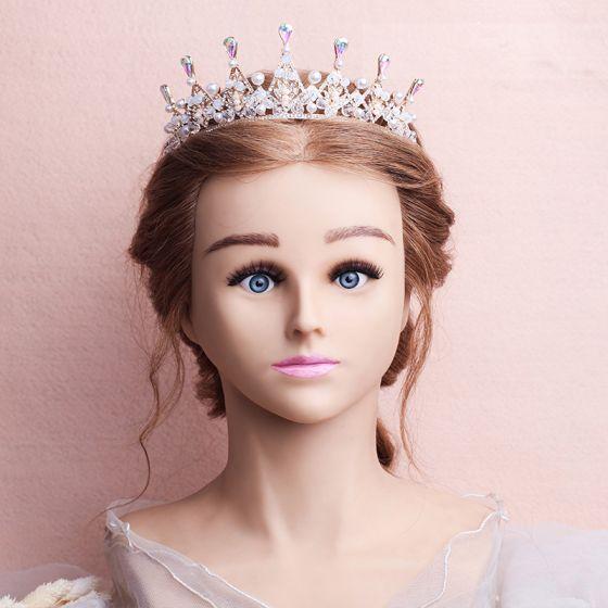 Chic / Beautiful Gold Bridal Jewelry 2017 Metal Beading Crystal Rhinestone Headpieces Wedding Accessories