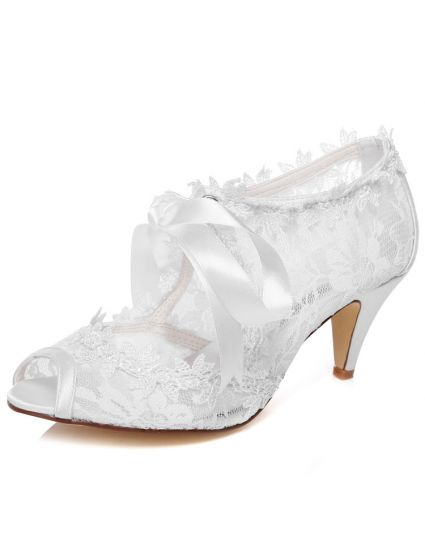 Beautiful Lace Wedding Shoes Stiletto Heels White Bridal Ankle Boots Peep Toe