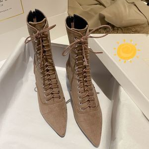 Mode Schöne Braun Strassenmode Wildleder Stiefel Damen 2020 Leder 8 cm Stilettos Spitzschuh Stiefel