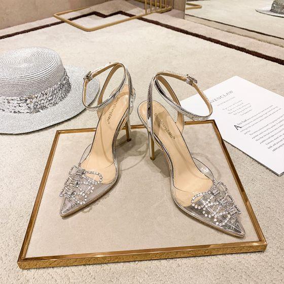Sexy Transparent Silber Freizeit Sandalen Damen 2020 Strass Knöchelriemen 10 cm Stilettos Spitzschuh Sandaletten