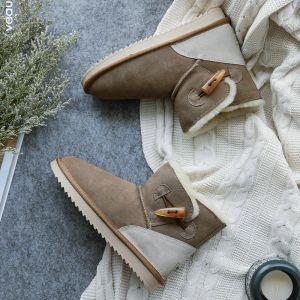 Mode Schneestiefel 2017 Braun Leder Ankle Boots Wildleder Schaltflächen Freizeit Winter Flache Stiefel Damen