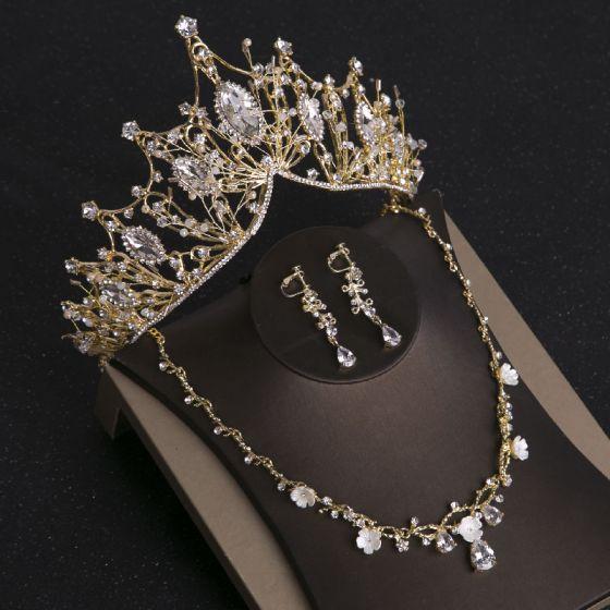 Piękne Złote Tiara Kolczyki Naszyjnik Biżuteria Ślubna 2019 Metal Rhinestone Frezowanie Ślub Akcesoria