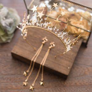 Modern Goud Bruidssieraden 2017 Metaal Ster Kralen Rhinestone Haaraccessoires Huwelijk Gala Accessoires