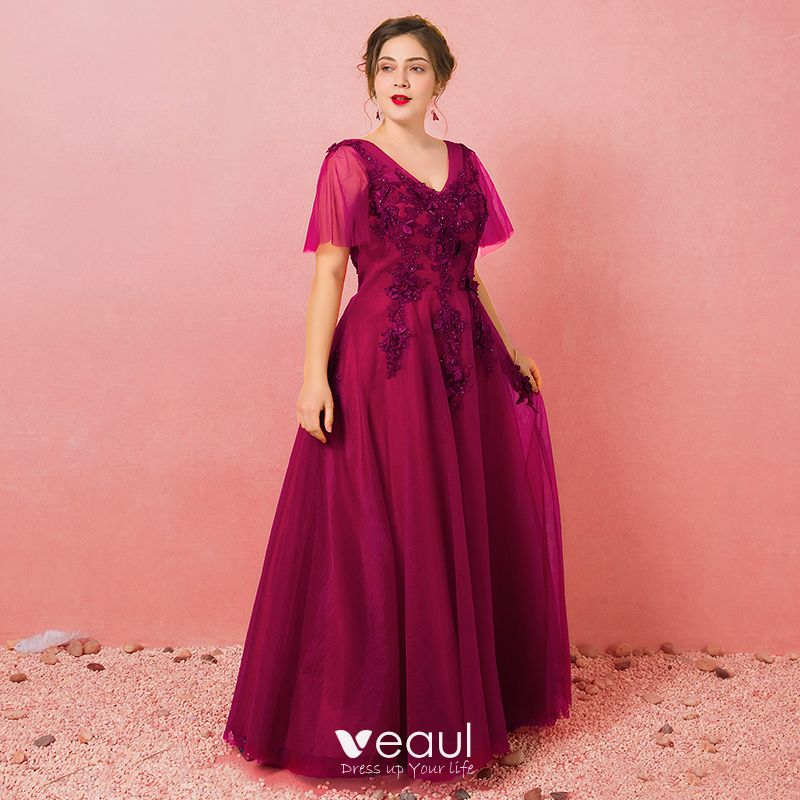Chic / Beautiful Burgundy Plus Size Evening Dresses 2018 A-Line / Princess  Tulle V-Neck Lace-up Appliques Backless Beading Evening Party Formal ...