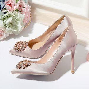 Chic / Beautiful Champagne Wedding Shoes 2020 Satin Rhinestone 10 cm Stiletto Heels Pointed Toe Wedding Pumps