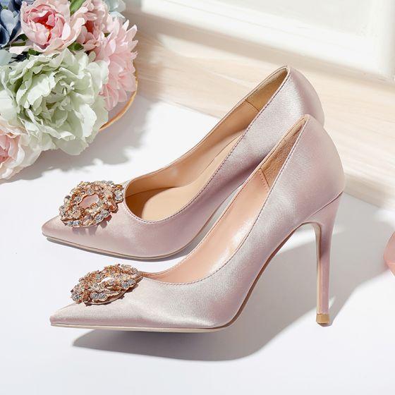 Chic / Beautiful Champagne Wedding Shoes 2020 Satin Rhinestone 10 cm Stiletto Heels Pointed Toe Wedding Pumps