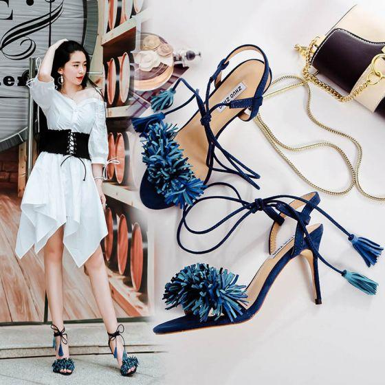 Mode Blæk Blå Sandaler Dame 2017 Peep Toe Strappy Tassel Læder Højhælede