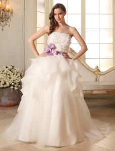 Robe De Bal Bretelles Robe De Mariée En Organza Ceinture De Pétale De Fleur