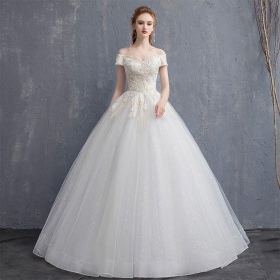 Overkommelige Champagne Brudekjoler 2018 Balkjole Med Blonder Off-The-Shoulder Halterneck Kort Ærme Lange Bryllup
