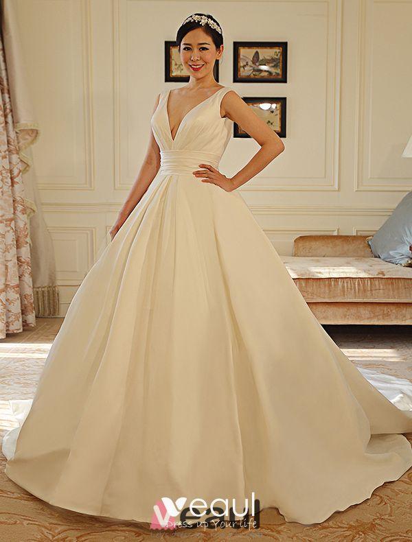 2016 Simple Deep V-neck Backless Ruffle Sash Thick Satin Wedding Dress With Bow