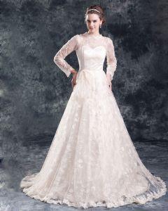 Fleur De Lacet De Longueur De Plancher De Bijou Billes Femmes De Robe Une Robe De Mariée En Ligne