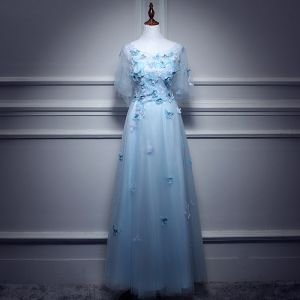 Chic / Beautiful Sky Blue Evening Dresses  2017 A-Line / Princess Scoop Neck 1/2 Sleeves Appliques Butterfly Floor-Length / Long Ruffle Backless Formal Dresses