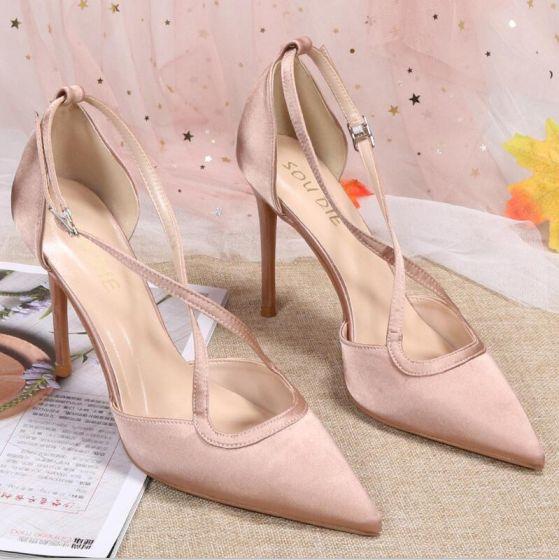 Chic / Beautiful Nude Street Wear Satin Womens Sandals 2020 X-Strap 10 cm Stiletto Heels Pointed Toe Sandals