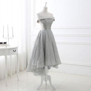 Chic / Belle Gris Glitter Robe De Soirée 2018 Princesse Paillettes De l'épaule Dos Nu Sans Manches Asymétrique Robe De Ceremonie