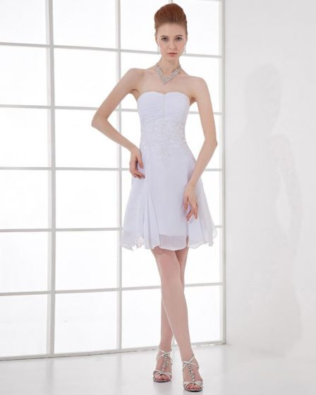 Fashion Chiffon Pleated Beaded Sweetheart Thigh Length Mini Wedding Dress
