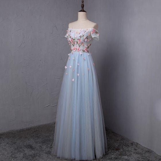 Hermoso Azul Cielo Vestidos de gala 2018 A-Line / Princess Apliques Crystal Plisado Fuera Del Hombro Sin Espalda Manga Corta Largos Vestidos Formales