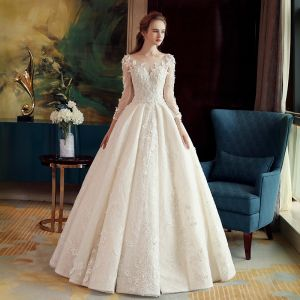 Luxury / Gorgeous Ivory See-through Wedding Dresses 2019 A-Line / Princess Scoop Neck 3/4 Sleeve Backless Appliques Lace Beading Crystal Glitter Tulle Floor-Length / Long Ruffle