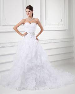 Organza Flower Beading Ruffle Sweetheart Court Train Tiered Ball Gown Wedding Dress