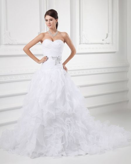 Organza Flower Beading Ruffle Sweetheart Court Train Tiered Ball Gown Wedding Dress