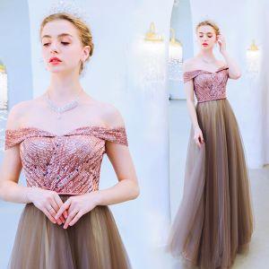 Charming Brown Evening Dresses  2019 A-Line / Princess Off-The-Shoulder Beading Sequins Crystal Sleeveless Backless Floor-Length / Long Formal Dresses