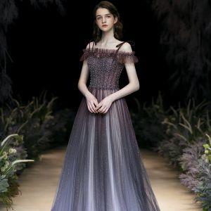 Charming Glitter Purple Evening Dresses  2020 A-Line / Princess Spaghetti Straps Beading Rhinestone Sequins Sleeveless Backless Sweep Train Formal Dresses