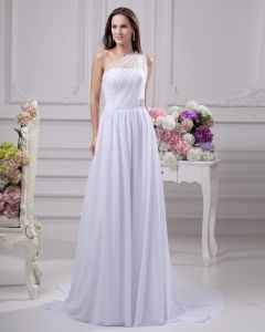 Sloping Floor Length Beading Pleated Chiffon Women Empire Wedding Dress