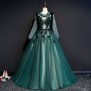 Illusion Dark Green See-through Prom Dresses 2019 Ball Gown Scoop Neck Long Sleeve Appliques Lace Floor-Length / Long Ruffle Backless Formal Dresses
