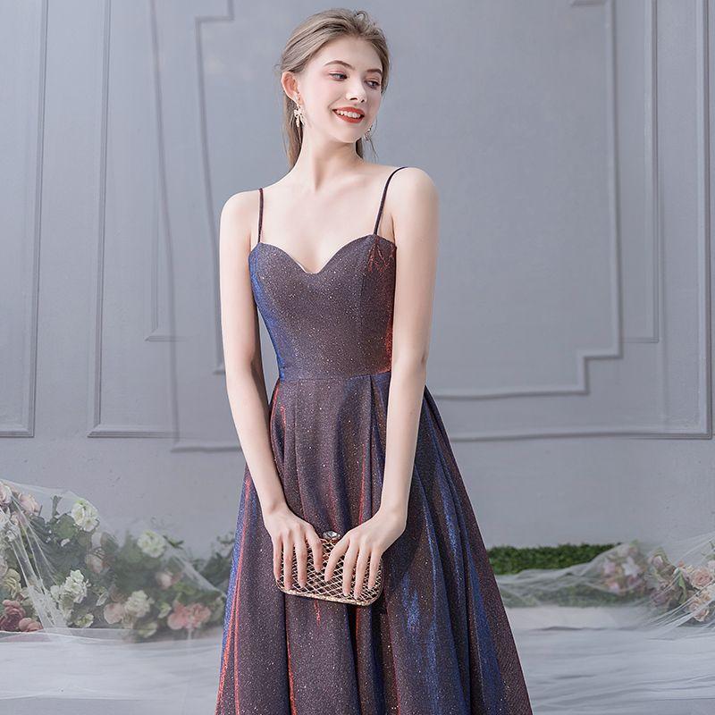 Charming Purple Evening Dresses  2019 A-Line / Princess Spaghetti Straps Glitter Polyester Sleeveless Backless Floor-Length / Long Formal Dresses