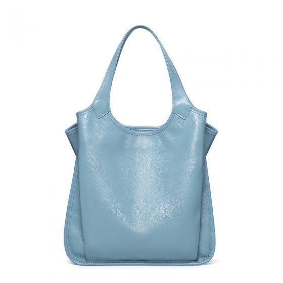 Enkel Himmelblå Mulepose Håndtaske Skuldertasker 2021 Læder Casual Dametasker