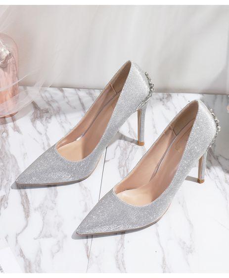 Charmig Silver Glittriga / Glitter Brudskor 2020 Rhinestone 10 cm Stilettklackar Spetsiga Bröllop Pumps