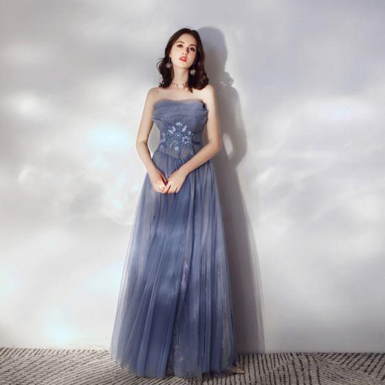 Snygga / Fina Ocean Blå Balklänningar 2020 Prinsessa Axelbandslös Spets Blomma Ärmlös Halterneck Långa Formella Klänningar