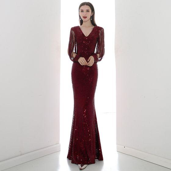 Glitzernden Burgunderrot Pailletten Abendkleider 2020 Meerjungfrau V-Ausschnitt 3/4 Ärmel Lange Festliche Kleider