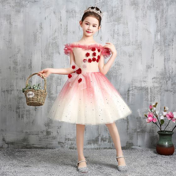Chic / Beautiful Red Gradient-Color Birthday Flower Girl Dresses 2020 Ball Gown Off-The-Shoulder Short Sleeve Backless Appliques Flower Bow Sequins Tulle Short Ruffle