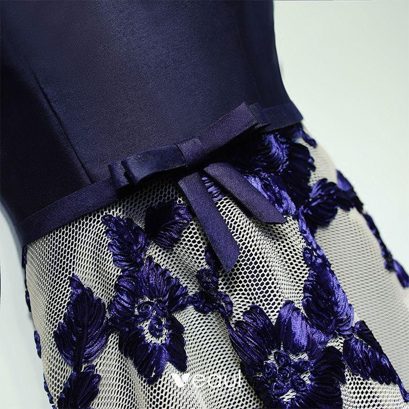 Classic Navy Blue Formal Dresses Evening Dresses  2017 Lace Flower Bow V-Neck Sleeveless Ankle Length A-Line / Princess