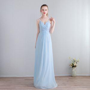 Schöne Lange Abend Abendkleider 2018 Chiffon A Linie V-Ausschnitt Himmelblau Schnüren Applikationen Rückenfreies Festliche Kleider