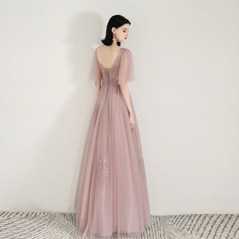 Chic / Beautiful Pearl Pink See-through Evening Dresses  2020 A-Line / Princess Square Neckline 1/2 Sleeves Appliques Lace Floor-Length / Long Ruffle Backless Formal Dresses